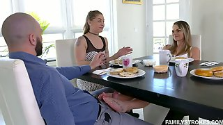 Lewd Bitch Athena Faris Gives A Blowjob Right During The Breakfast