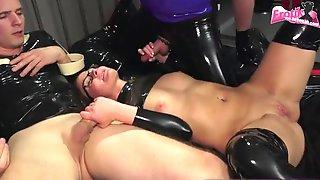 Threesome In Latex Mmf With Skinny German Blond Fetish Milf