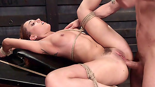 Curly Tied Up Redhead Anal Fucked