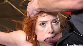 Huge Tits Redhead Slave Gagged With Dick