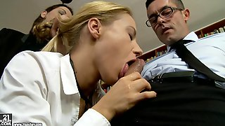 Trio Lovemaking In Library - Nikky Thorn