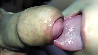 Close Up Foreskin Play Blowjob Jerking Off On My Lips & Cum On My Tongue