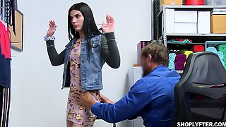 Shoplifting Brunette Sadie Blake Gets Her Mouth And Pussy Punished