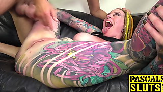 Busty And Inked Piggy Mouth Fucked Anal Before Cum In Mouth