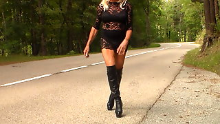 Black Long Boots And Transparent Dress