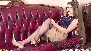 Arousal Expert Fit Brunette Brook Logan Jerks Off With You In Nylons And Designer Heels