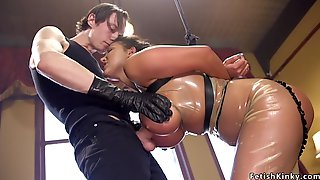 Monster Cans Asian In Latex Gets Had Sex