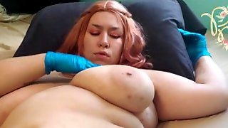 Latex Glove Personal Breast Exam , BBW With Huge Tits
