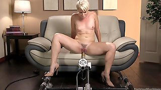 Bombshell Short Haired Blonde MILF Helena Locke Fucked By A Machine
