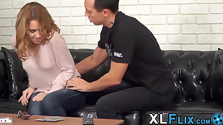 Petite Girl With Glasses Fucked Over A Game Of Cards