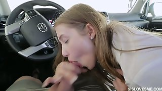 Shy Stepsister Audrey Hempburne Gives A Good Blowjob In The Car Instead Of College