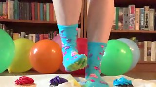Birthday Cupcake Food Stepping/Crushing In Socks