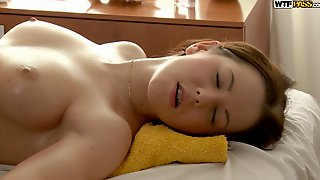Pretty Brunette Nailed On Massage Table Flick