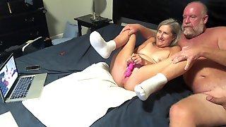 Hot Milf Masturbates While Hubby Strokes His Cock