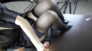 Young Hand Job On Her Soles In Stockings - Foot Fetish, Cum On Feet