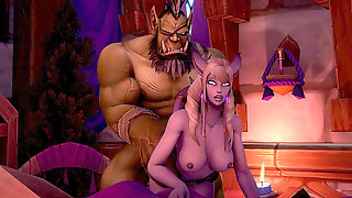 Uber-sexy Warcraft Draenei Deep-throats And Penetrate A Huge Orc Dick