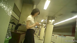 Candid Office Woman In Japan Subway Station