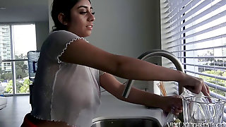 Violet Myers Luxurious Dishwashing Hidden Cam Time