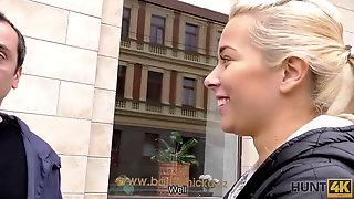 HUNT4K. Platinum-blonde Stops Struggling With Bf Because Stranger Gives Money