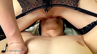 Teen In Stockings Gets Orgasm Riding Rod. Female Dom Hookup & FACESITTING ORGASM.