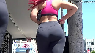 Candid Obese Backside Latina Twins In Ebony Spandex Leggings- So Fucking Hot!