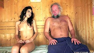 Hot Nubile Guzzles Cum Of Older Man In Sauna