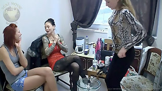 Dominatrix Chantal And 2 Friends Spitting And Pissing For The Successful Marionette