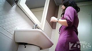 Gals Urinate In Public Rest Room 2259