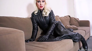 Taunting In Leather Sundress & Gloves
