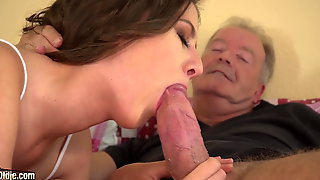 Cocky Grandpa Fucks Tiny Hoochie-coochie 18yo Girl Ends With Open Mouth