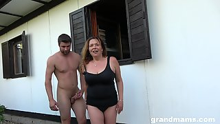Horny Mature Wants To Fuck With Her Young Friend In The Garden