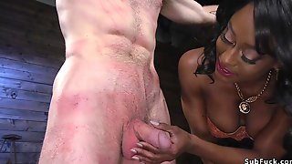 Muscled Busty Ebony Dom Fucks Male