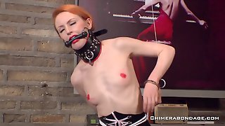 SKinny Redhead Plays Kinky Game With Clothespins. Full Scene.