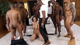 LITTLE TINY WHITE GIRL GETS SMASHED IN A BBC GANGBANG