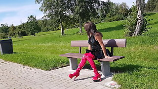 Sissy Crossdresser Parking Place Slut Waits For Men To Fuck