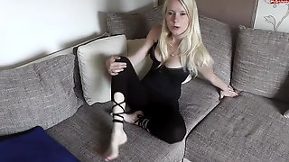 German Blonde Spends Afternoon Eating Her Tasty Toes On The