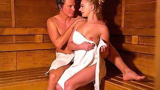 Blonde Minx In Sexy Sauna Seduction
