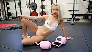 Sporty Young Blonde Lilly Lit Opens Her Little Hole For A Huge Cock