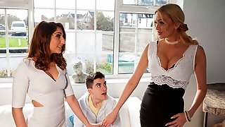 Two Girls Amber Jayne And Jimena Lago Are Sharing A Big Cock