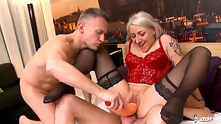 Miniature Busty MILF Julie Holly Double Penetrated By Two Big Cocks