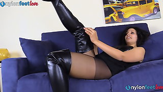 Italian Brunette In Pantyhose Takes Off Her Leather Boots
