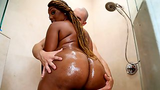 Busty Ebony Mimi Curvaceous Cheats On Her Hubby With A Big White Cock