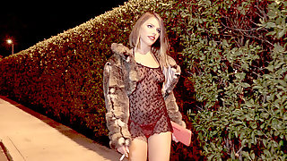 Whore Adriana Chechik Is Walking On The Street Waiting For A Client