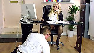 Busty Blonde Katy Jayne Seduced IT Guy In The Office