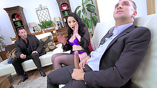 Veruca James Gets Throat Fucked While Her Husband Looks On Helplessly