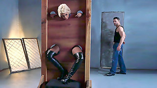 Bridgette B Is Put Into The Pillory And Gets Her Both Holes Fingered