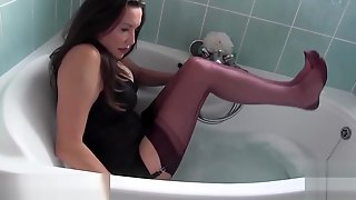 Hot Milf Tease Covers Sexy Feet In Soaking Wet Nylon In Bath