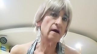 Jen Jerks Her Cock In Silver Dress