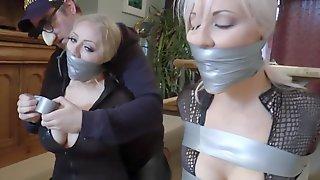Naughty Blonde Babes Bondage Fetish Video