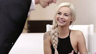 Flirty Blonde Babe Elsa Jean Spreads Legs To Be Fucked Missionary On The Table